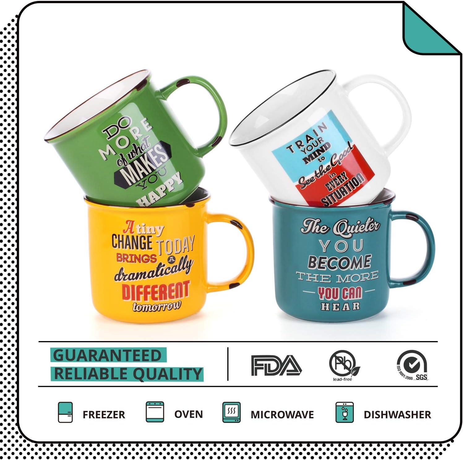 Set of 4 Tea Housewarming Gift LIFVER 18 Ounces Coffee Mugs Large Porcelain Cups for Coffee Multi Colors Cocoa Retro Style Mug Sets