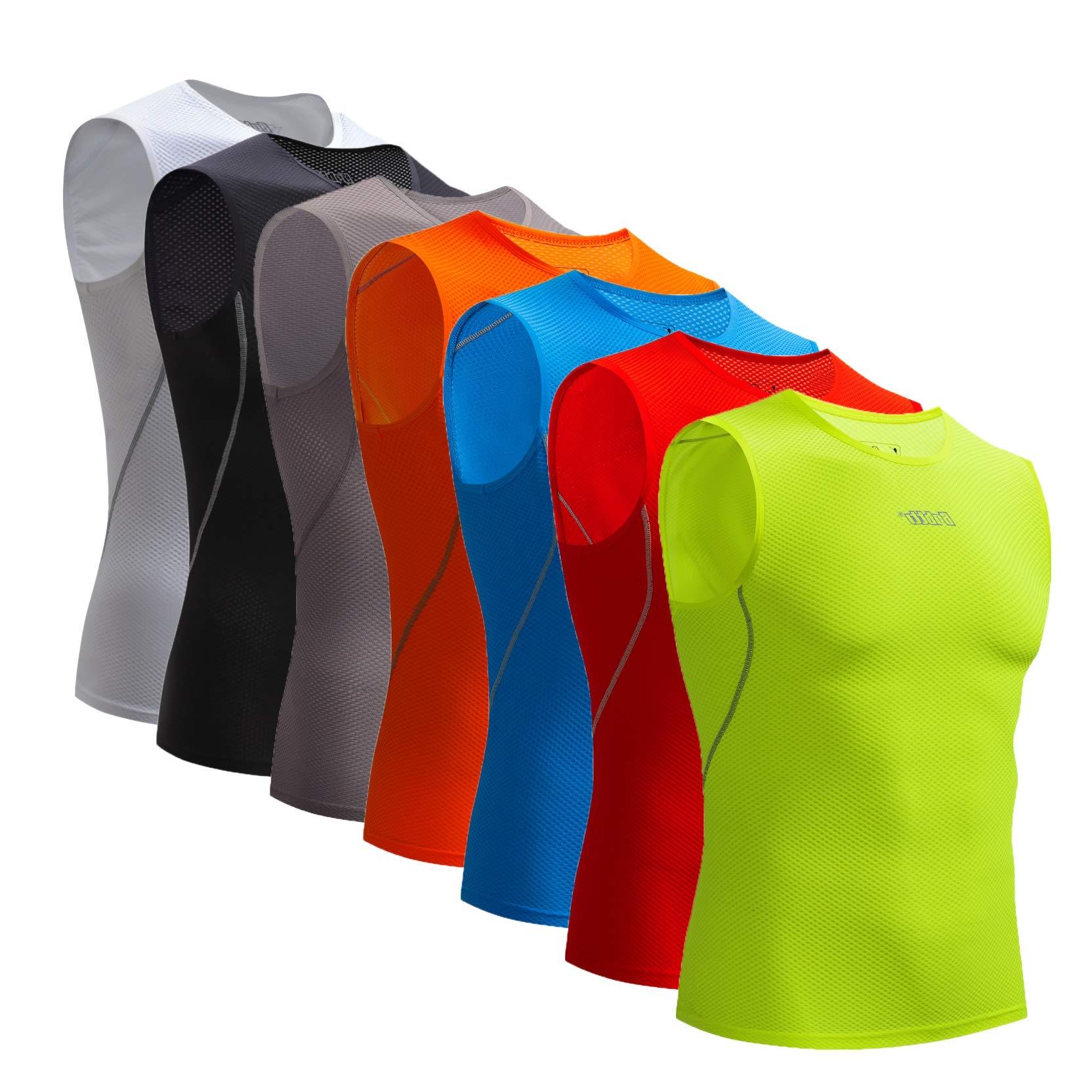 Bpbtti Men's Sleeveless Cycling Base Layer Bike Undershirt,Breathable,Superlight and Moisture Wicking (1 Pack Hi-Viz Yellow, Small)