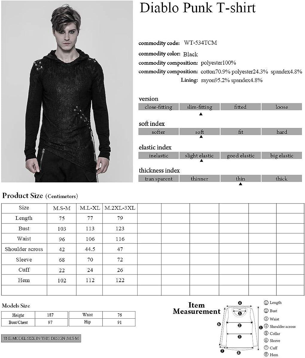 Punk Rave Men Diablo Cool Black T-Shirt Gothic Hoodie Slim-Fitting Cotton Casual Shirt Tops
