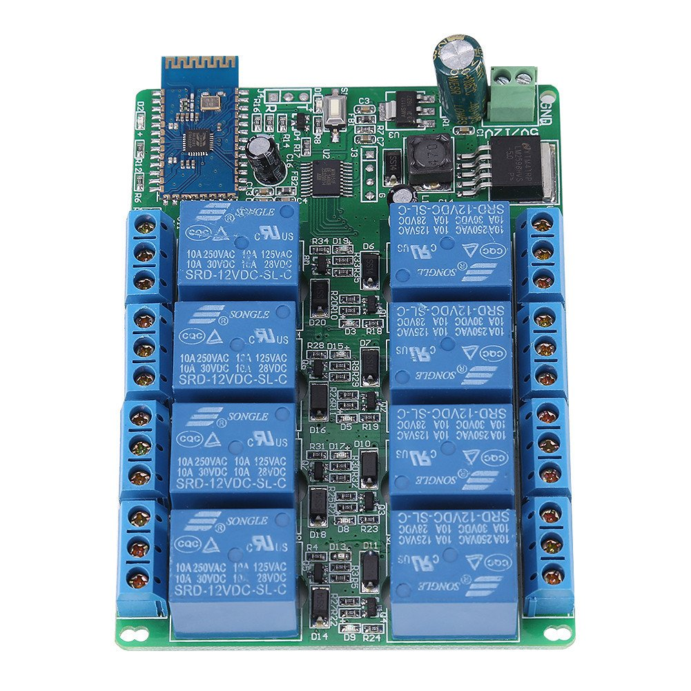 1pc Dc 12v 8 Channel Bluetooth Relay Remote Control Switch Android Module Motor Light