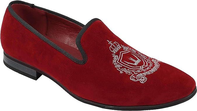 TALLA 42 EU. Hombres De Imitación De Terciopelo De La Vendimia del Cuero del Ante De Los Holgazanes Bordado Fumadores Zapatos De Los Deslizadores