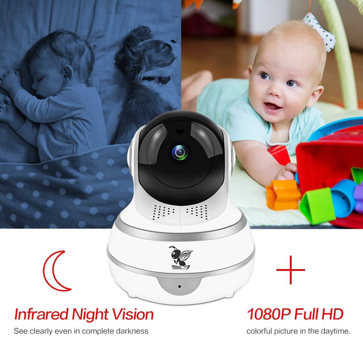 Bozikey 1080P WiFi Wireless IP Security Smart Home Surveillance Indoor Camera Pan Tilt with Cloud Service,Motion Detection,Auto-Cruise,Night Vision,Two-Way Talk Elder Pet Office Baby Monitor