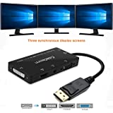 CABLEDECONN 4-in-1 Multi-Function Displayport to Hdmi/Dvi/Vga Adapter Cable with Micro USB Audio Output Male to Female Converter Supports 3 Monitors at The Same Time (dp to hdmi vga dvi Audio)