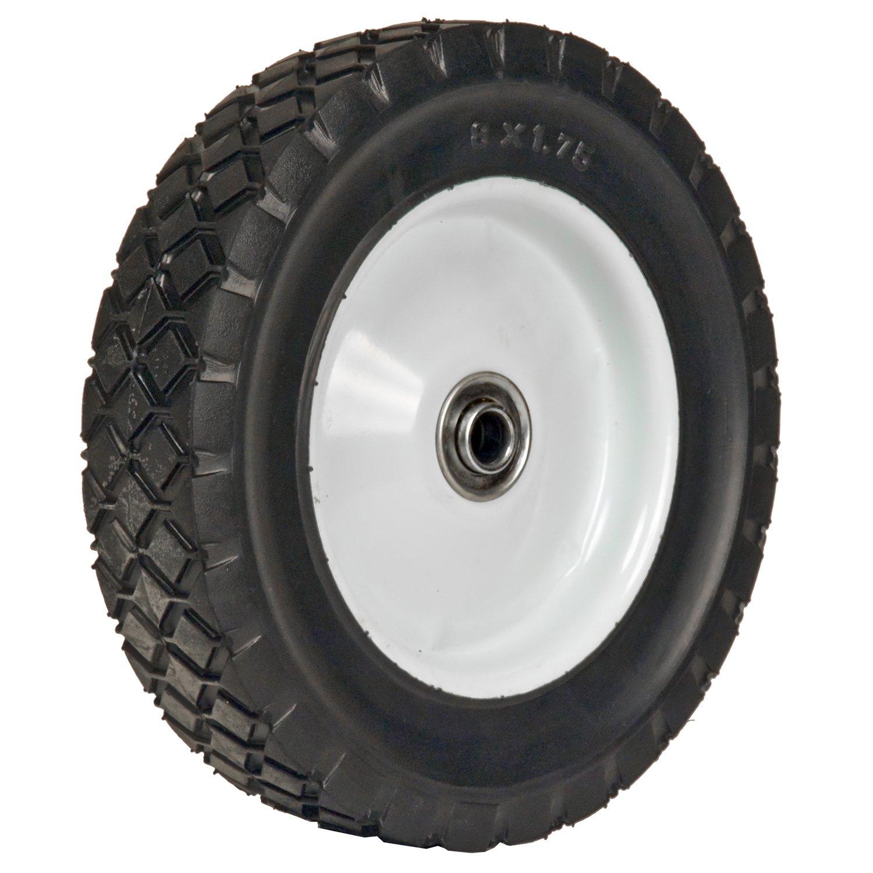 Martin Wheel 875-OF 8 by 1.75-Inch Light Duty Steel Wheel for Lawn Mower, 1/2-Inch Ball Bearing, 1-3/8-Inch Offset Hub, Diamond Tread