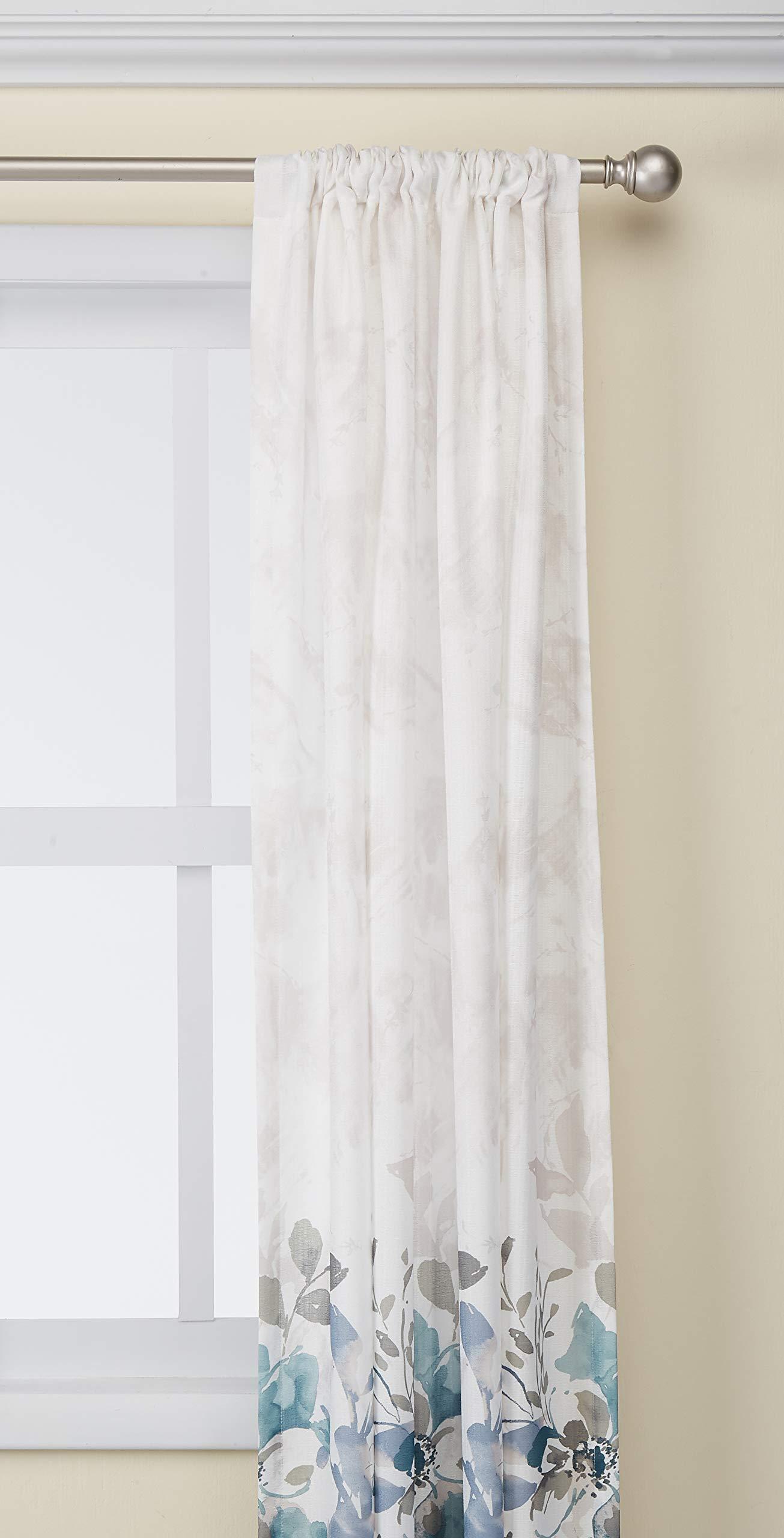 CHF Watercolor Floral Curtain Panel, 84'', Aqua