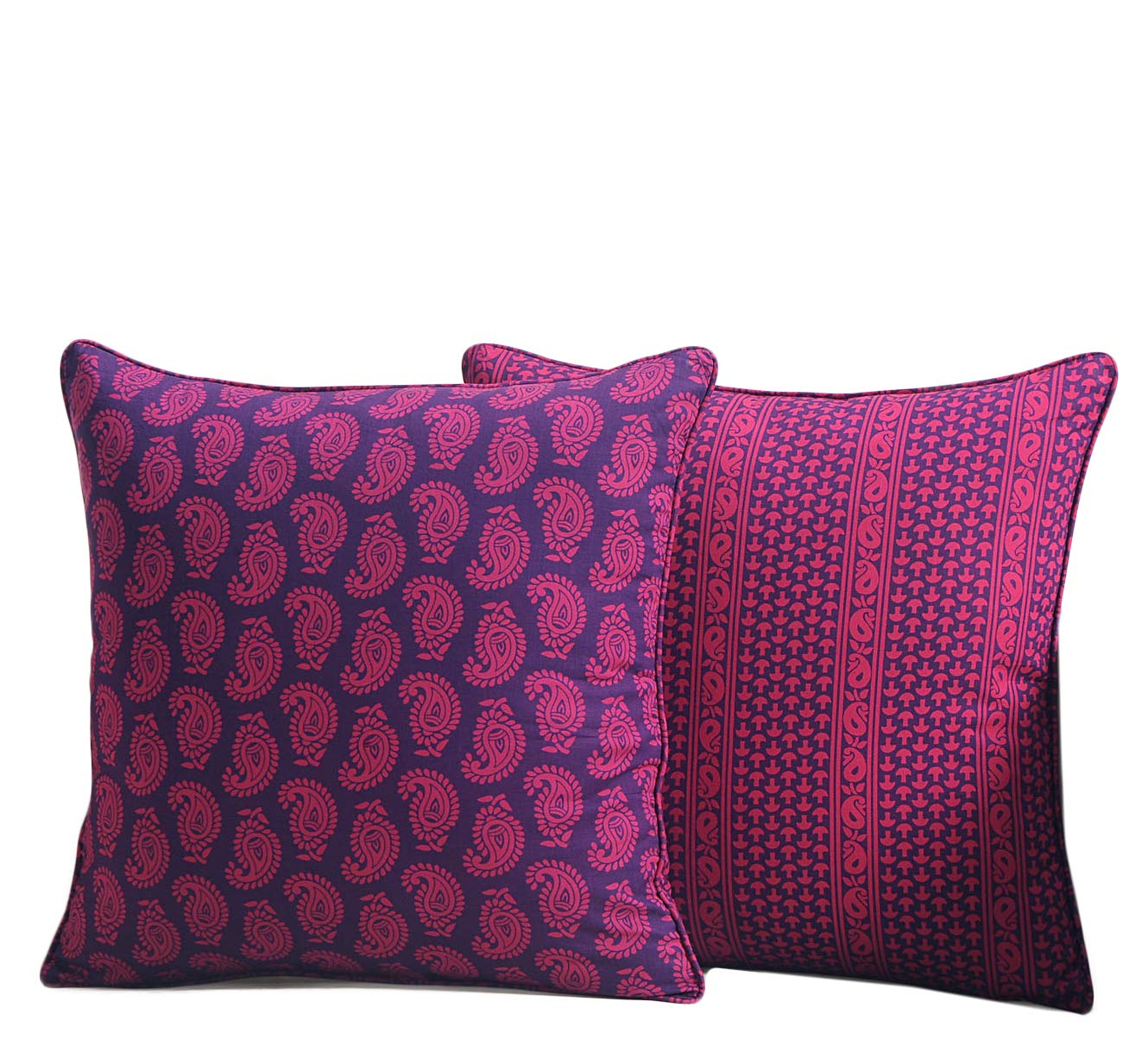 ShalinIndia Paisley Printed Cushion Cover Set With 2 Throw Pillow Covers Cotton Poplin Fabric 18x 18 Inch Swayam MN-CP182-2601