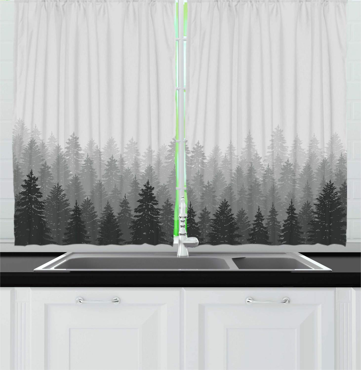 Ambesonne Forest Kitchen Curtains, Wilderness Pattern with Many Trees Nature Panorama Monochrome Woods, Window Drapes 2 Panel Set for Kitchen Cafe, 55 W X 39 L Inches, Pale Grey Dark Reseda Grey