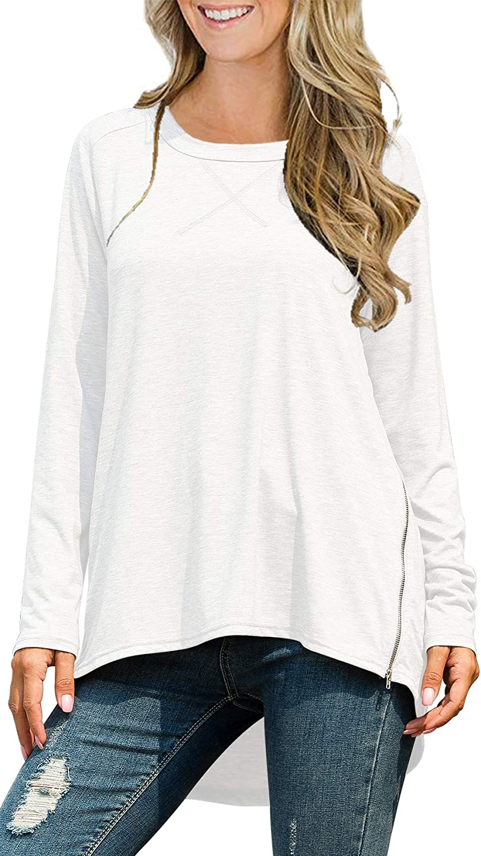 ABirdon Camiseta de Manga Larga para Mujer Cuello Redondo Casual Blusa de Elegante Suelto T-Shirt Tops Side Zip