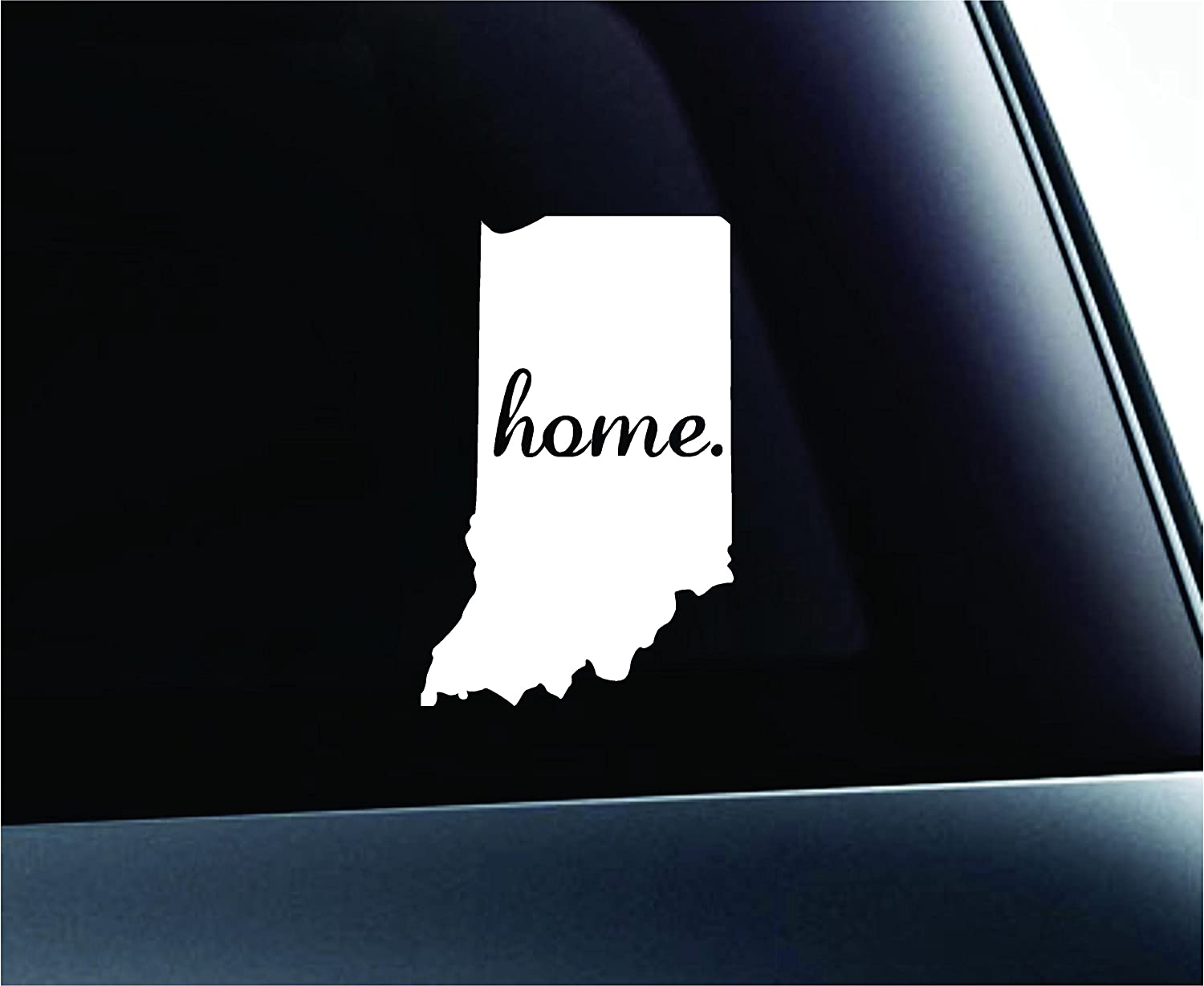 ExpressDecor #2 Home Indiana Symbol Decal Family Love Car Truck Sticker Window (White)