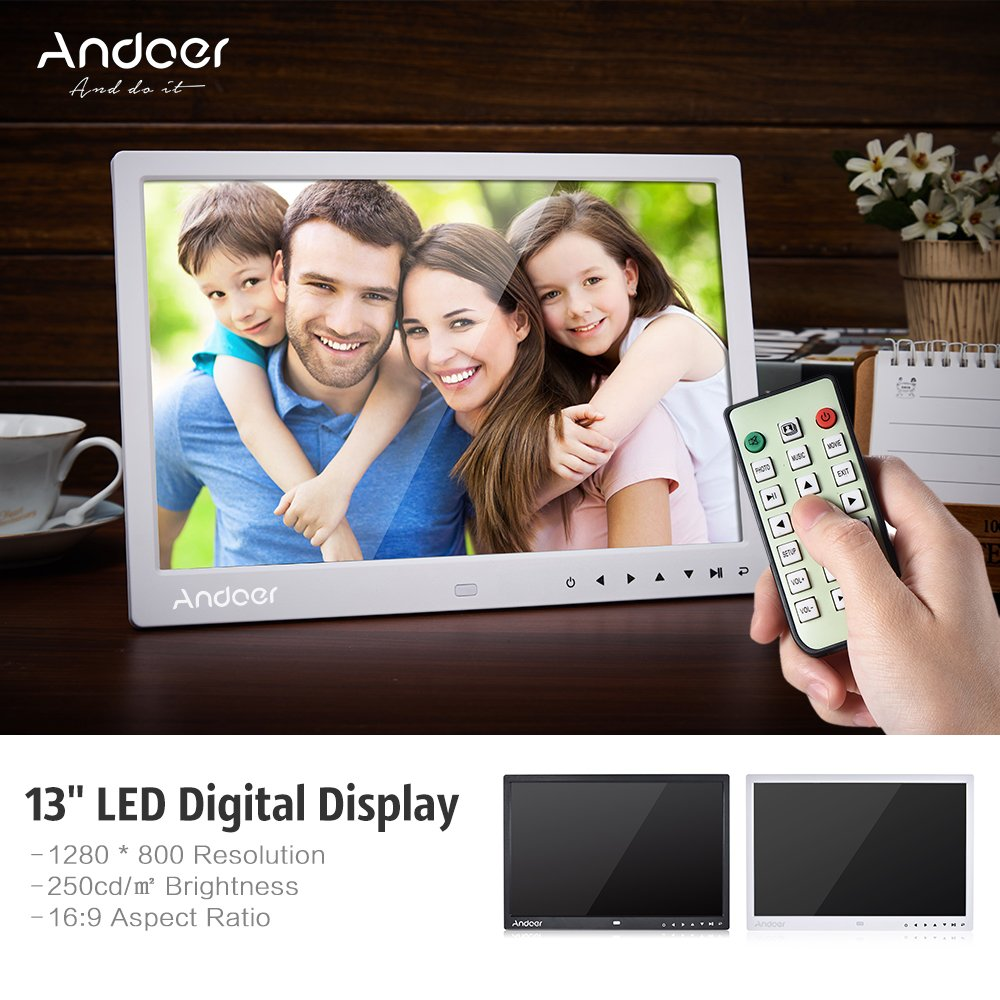 Amazon.com : Digital Picture Frame, Andoer 13 inch LED Digital Photo Frame 1080P HD Resolution Desktop Display Image MP4 Video Support Auto Play with ...