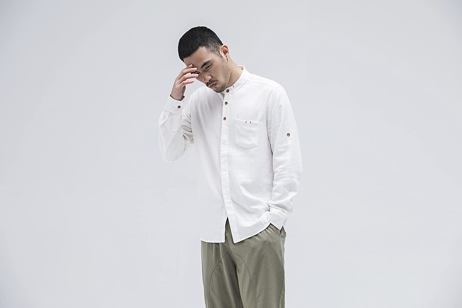 BaronHong Mens Slim Fit Chinese Vintage Collar Long Sleeve Linen Shirts with Chest Pocket