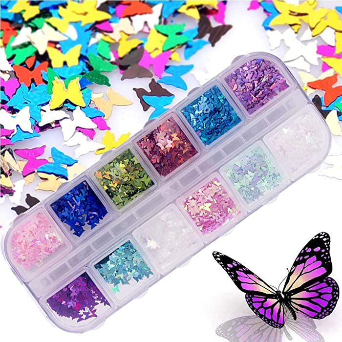 12 Color/Set 3D Butterfly Nail Glitter Sequins, Kalolary Laser Butterfly Nail Sequin Acrylic Paillettes, Holographic Nail Sparkle Glitter for Nail Art Decoration