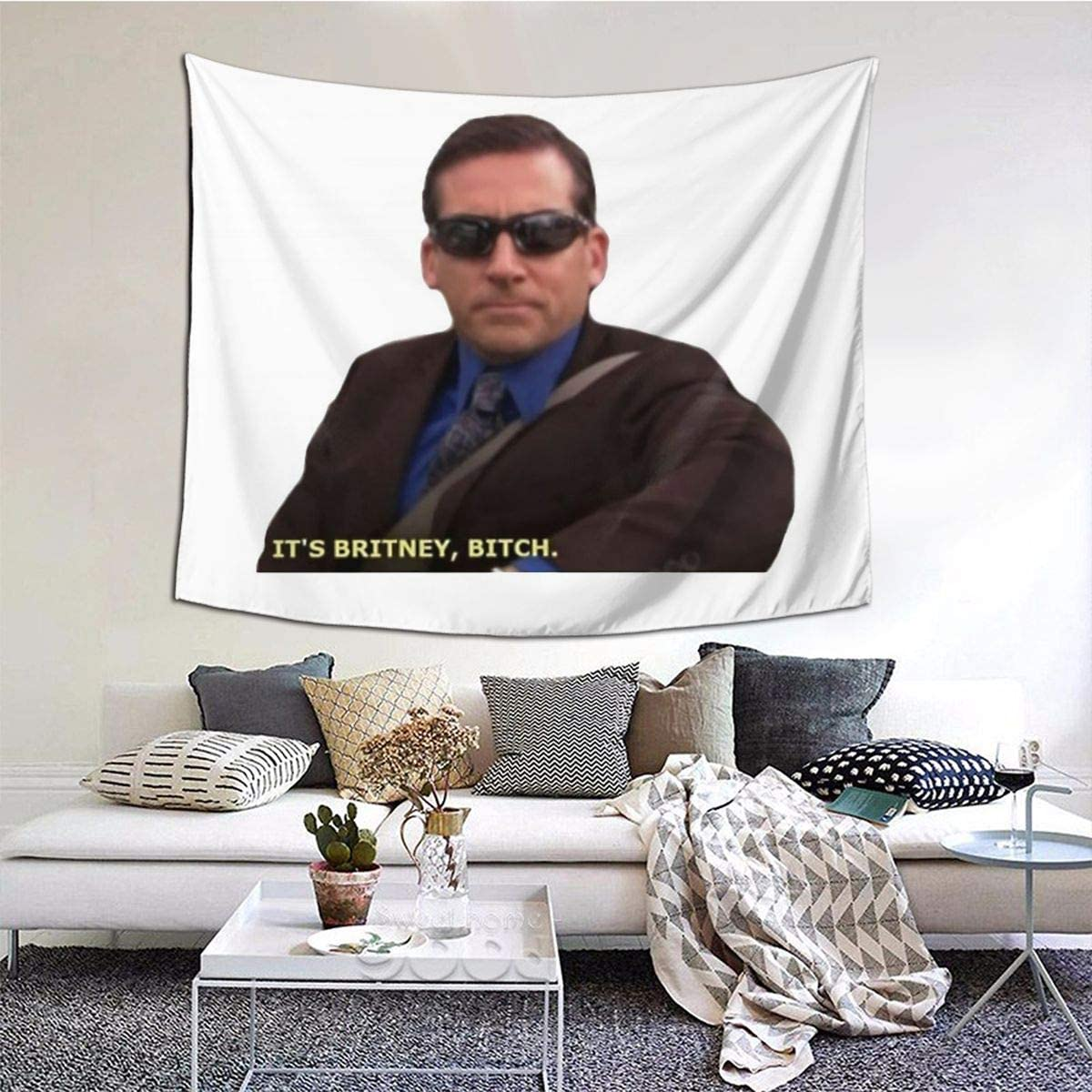 Gyaiaer Michael Scott Meme Funny Tapestry Boutique Wall Hanging Tapestry Vintage Tapestry Wall Tapestry Micro Fiber Peach Home Decor 6051inch