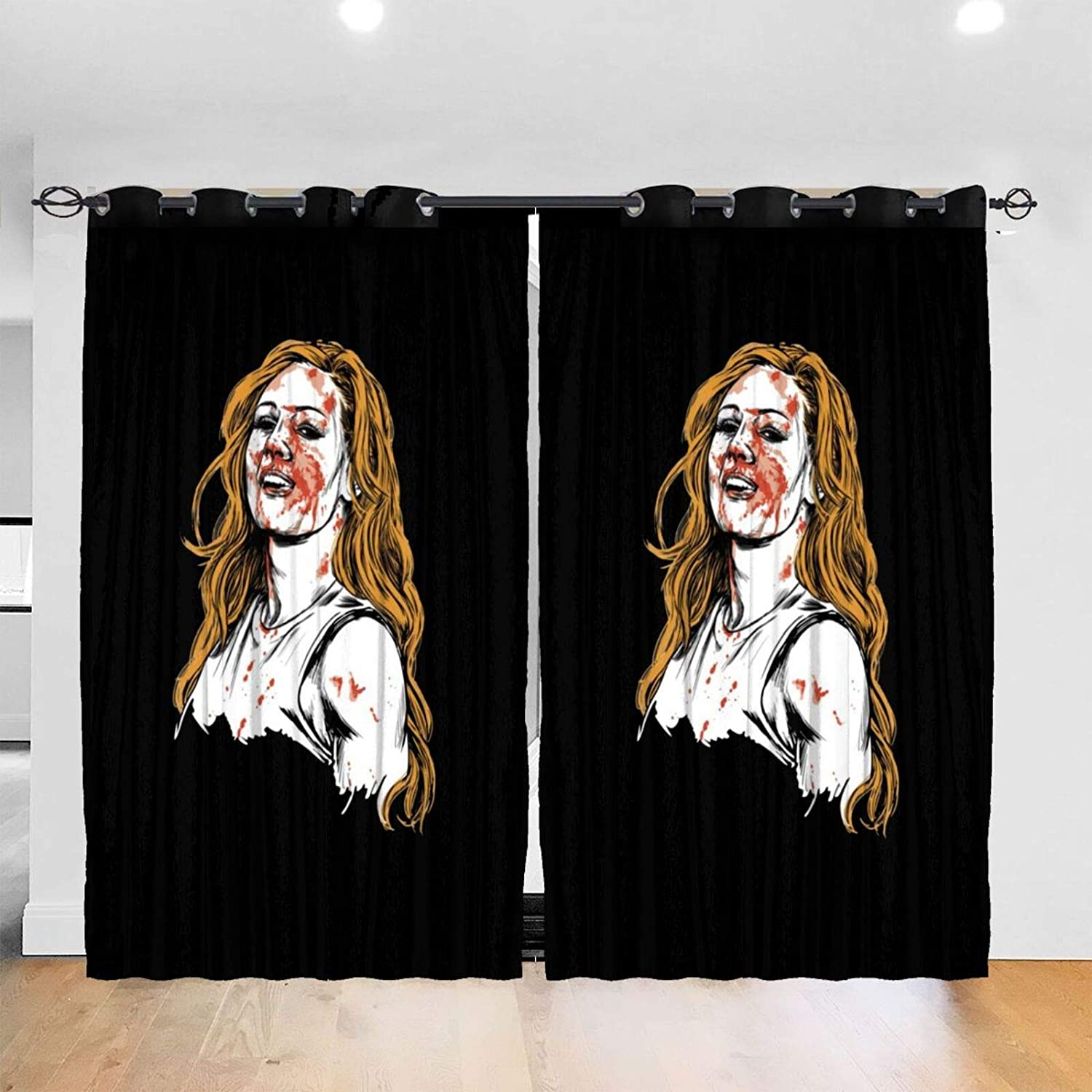 BAIJEN Becky Lynch Funny Blackout Window Curtains Thermal Insulated Room Darkening Drape for Bedroom Living Room 52 X 72 Inch