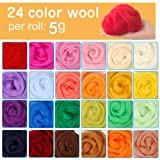 Needle Felting Kit, 24 Colors Wool Roving for