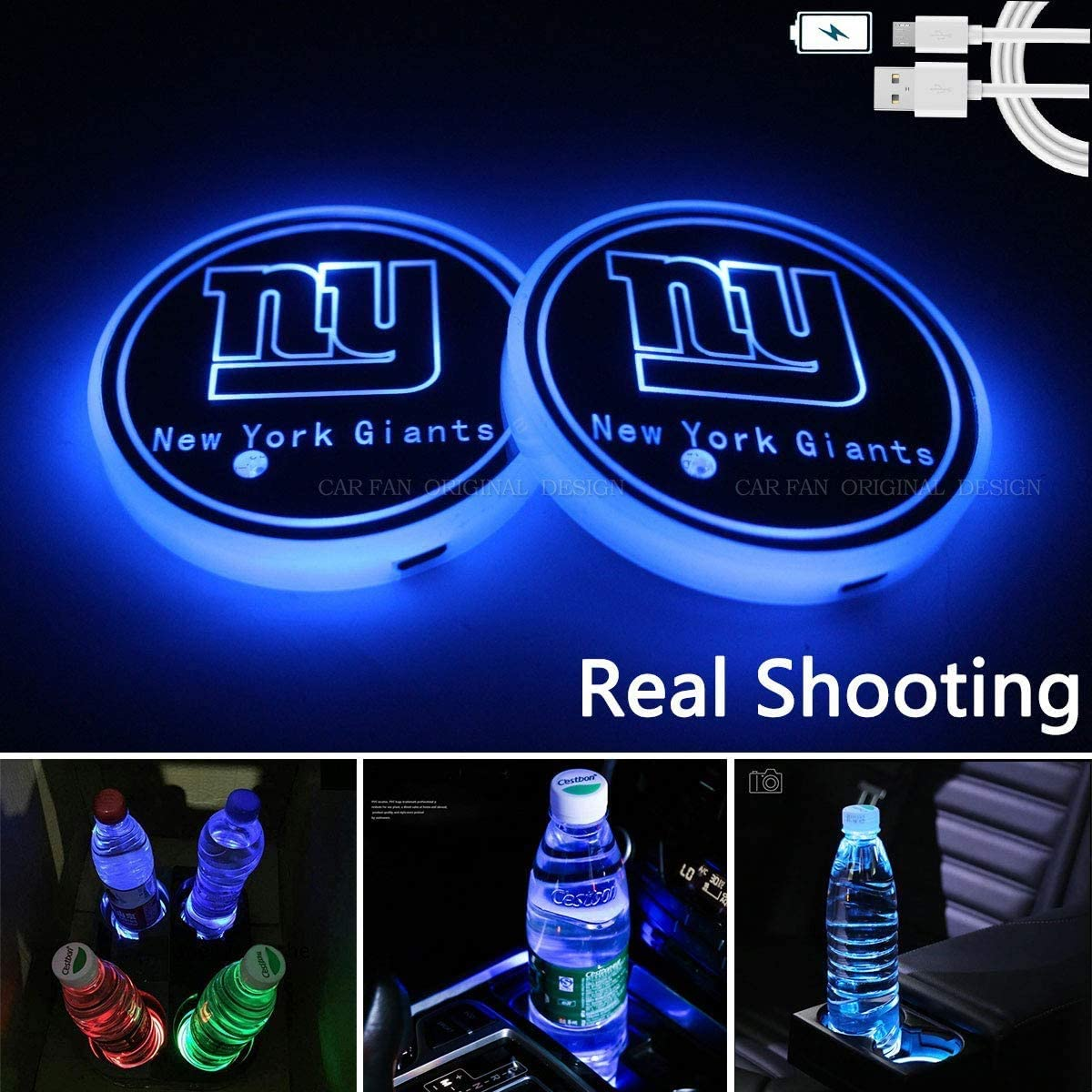 fit Buffalo Bills CAR FANS 2pcs fit Team Logo Cup Holder Lights,USB Charging Switchable Colorful Breathing Room Atmosphere Light,Choice of Big Fan of Football