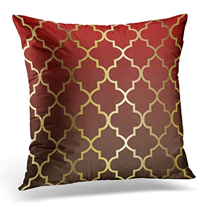Dark Red Throw Pillows.Torass Throw Pillow Cover Geometric Dark Red And Brown Blend Quatrefoil Pattern Unique Decorative Pillow Case Home Decor Square 18x18 Inches