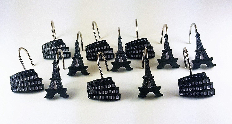 Paris Stamps Shower Curtain Hooks