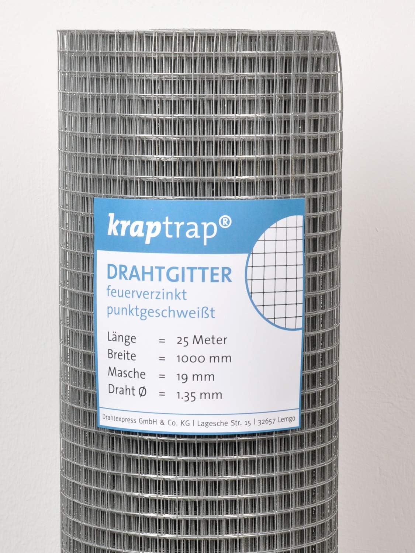 Drahtgitter 25 m L/änge Drahtst/ärke 1,35mm Volierendraht 100 cm Breite 19x19