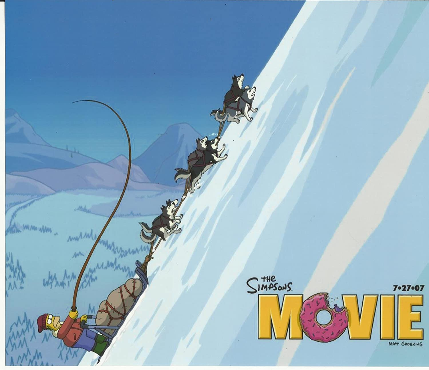 The Simpsons Movie 8x10 Inch Photo Homer On Dog Sled At Amazon S Entertainment Collectibles Store