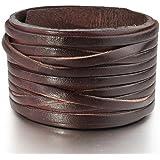 INBLUE Men's Alloy Genuine Leather Bracelet Bangle Cuff Brown Silver Tone Black White Adjustable