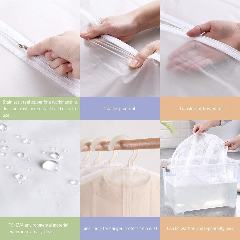 Bolsas de Vestir Lavables a Prueba de Polvo Armario a Prueba de polillas Organizador de Ropa Cubiertas de Traje YMTECH Cubiertas de Ropa 6 Paquetes Blanco