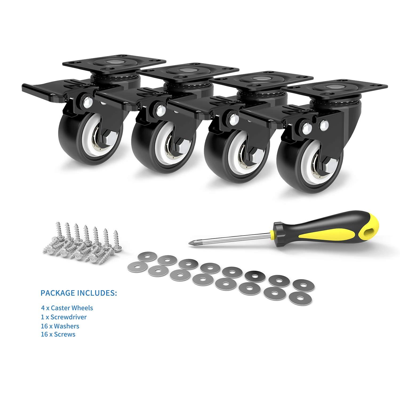 2Inch Caster Wheels ACOOJ,Rubber,Swivel Safety Dual Locking Brake Caster,Heavy Duty 600lbs,Set of 4