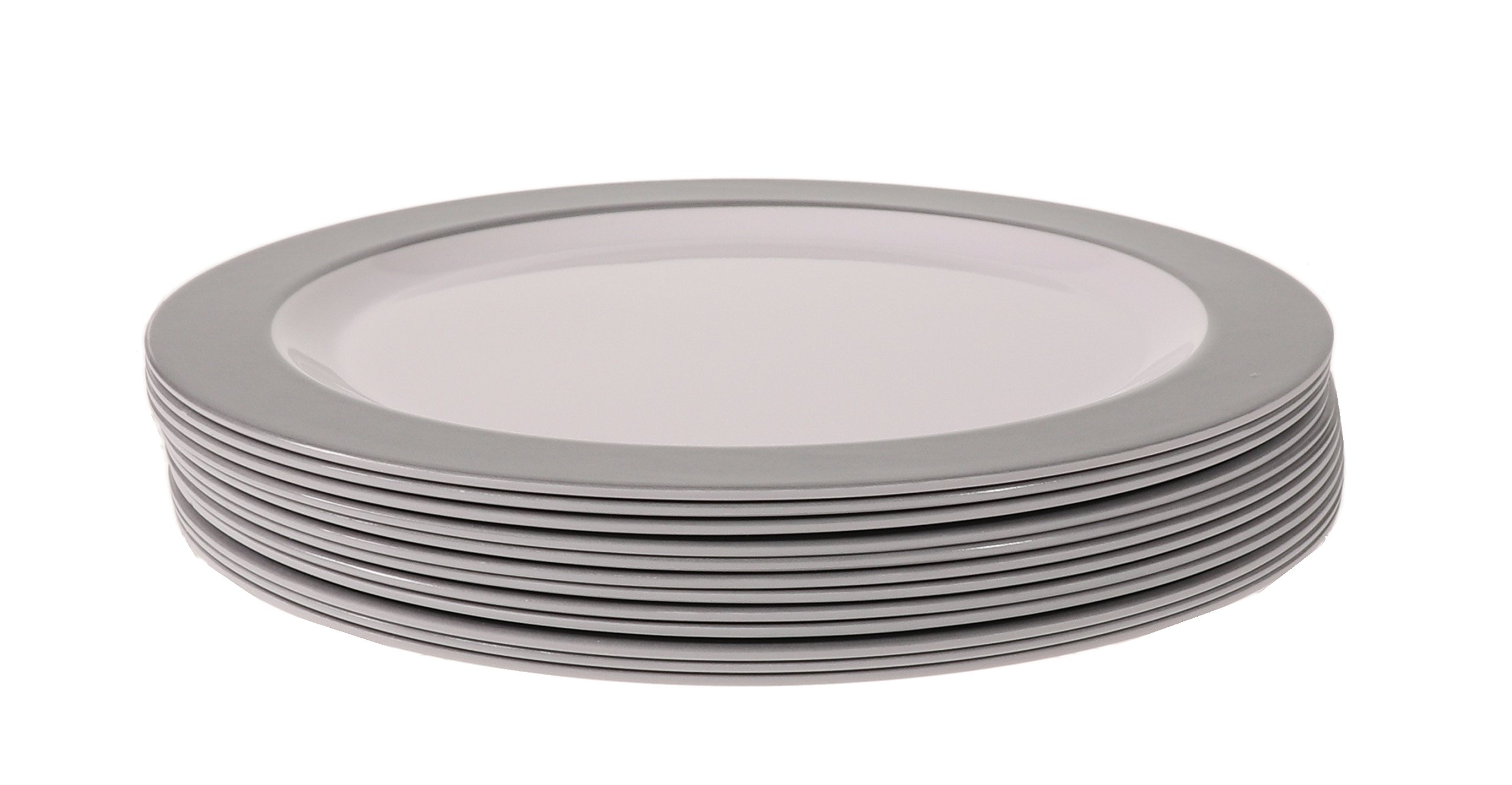 Handi-Ware 12-Piece Party Bulk Pack Signature Melamine Blend Set - Classic Wide Rim Design - Indoor/Outdoor Reusable Dinnerware - Great Paper Plate Replacement! - by Unity (10.5'' Dinner Plate, Silver)