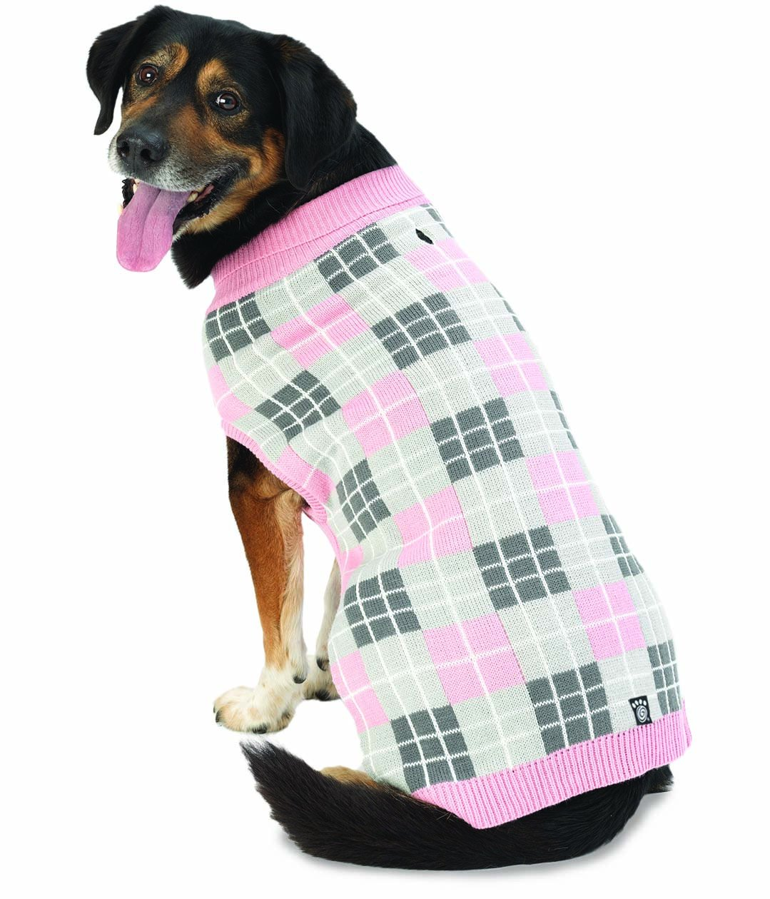 Pet Rageous 9501PMD Piper's Plaid Sweater, Medium, Pink Plaid by PetRageous