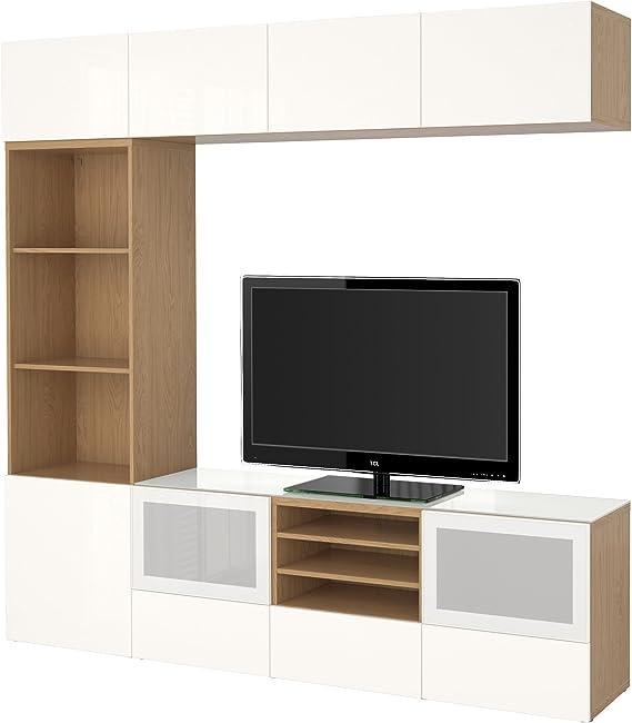 Zigzag Trading Ltd IKEA BESTA - TV por Efecto de Almacenamiento de combinación/Puertas de Vidrio Roble/selsviken Alto Brillo/Blanco de Vidrio Esmerilado: Amazon.es: Hogar