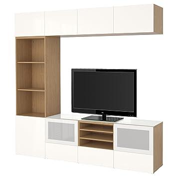 Ikea Besta Tv Aufbewahrungskombination Glasturen Eiche Effekt