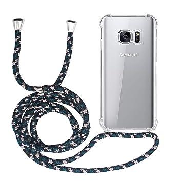 MyGadget Funda Transparente con Cordón para Samsung Galaxy S7 - Carcasa Cuerda y Esquinas Reforzadas en Silicona TPU - Case y Correa - Negro Camuflaje