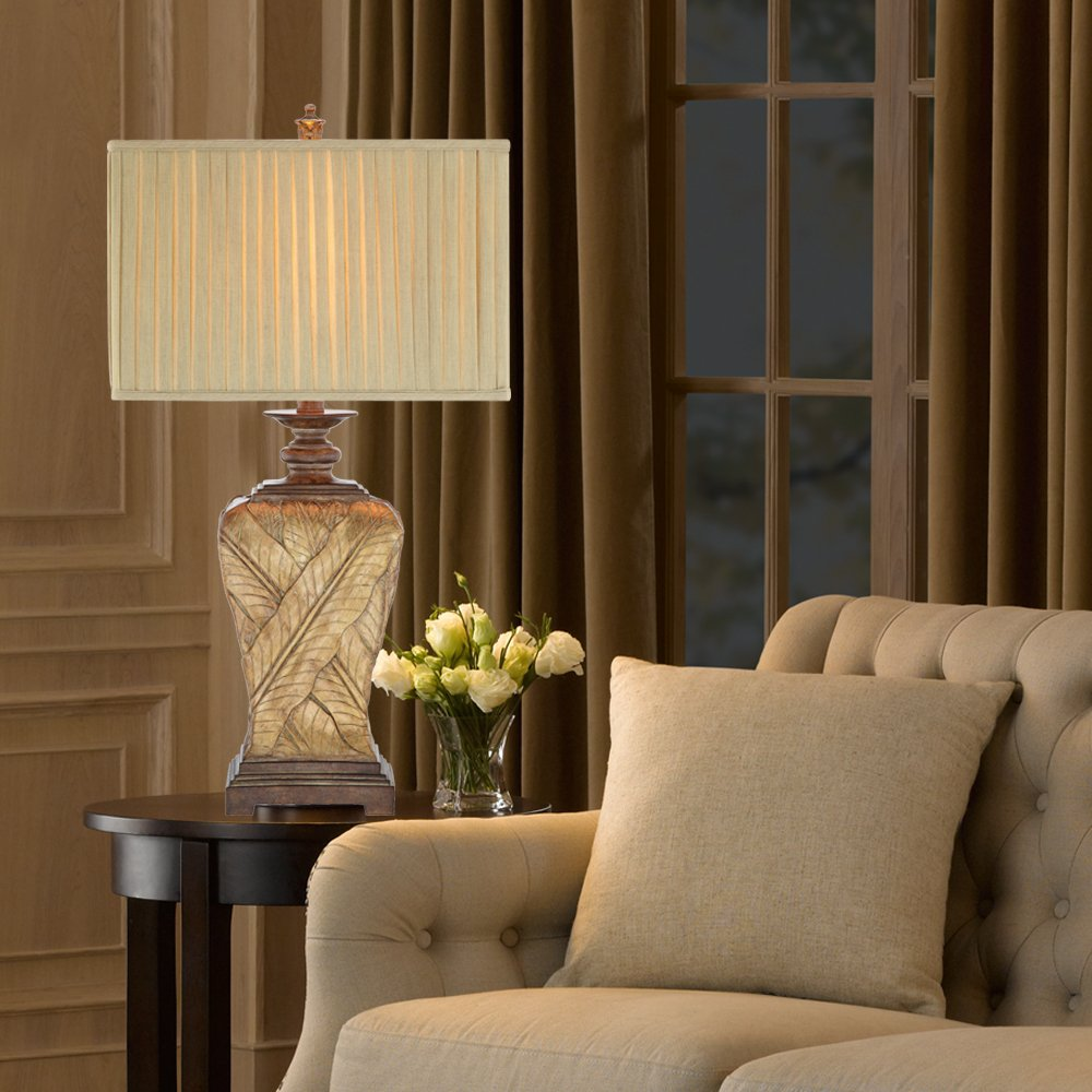 Catalina 19083-000 3-Way 32-Inch Wrapped Leaf Table Lamp and Rectangular Pleated Fabric Shade by Catalina Lighting (Image #2)