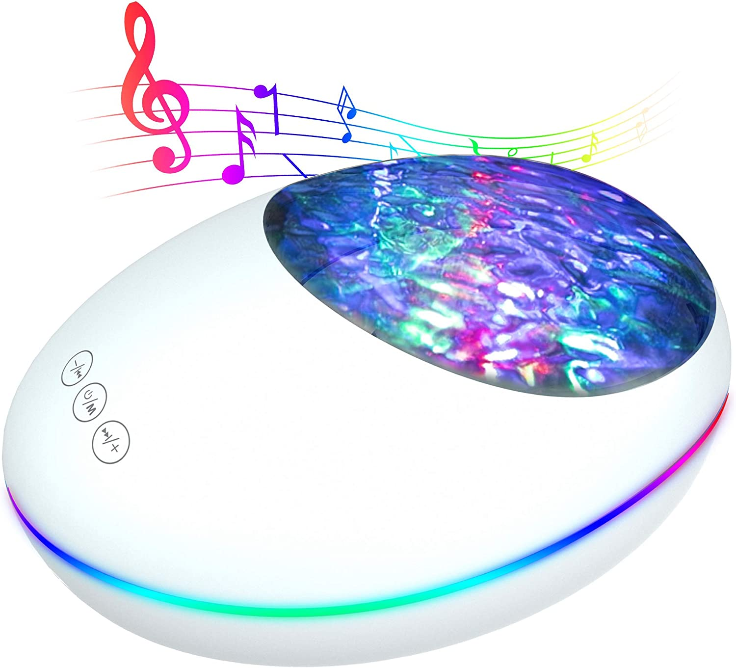 Ocean Wave Projector,LED Room Lght Projector for Bedroom Decor with 7 Lighting Modes 12 LED Adjustable Lightness Bluetooth Music Speaker Support AUX TF Card Night Light for Baby Kids Adult Living Room
