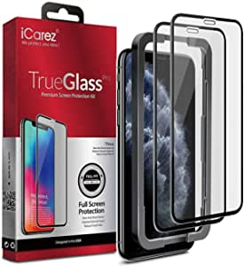 iPhone 11 Pro/iPhone Xs 5.8-inch,Screen Protector (2 packs) Full Coverage Tempered Glass/Tray Installation (Case Friendly) Easy Apply, iCarez.