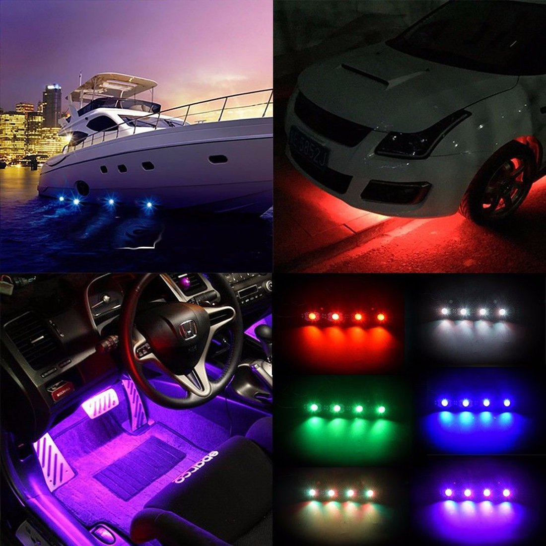 AUXTINGS 4 Pods RGB LED Rock Light Kits with Bluetooth Controller Timing /&Music Mode for JEEP Off Road Truck Car ATV SUV Vehicle Boat Interior