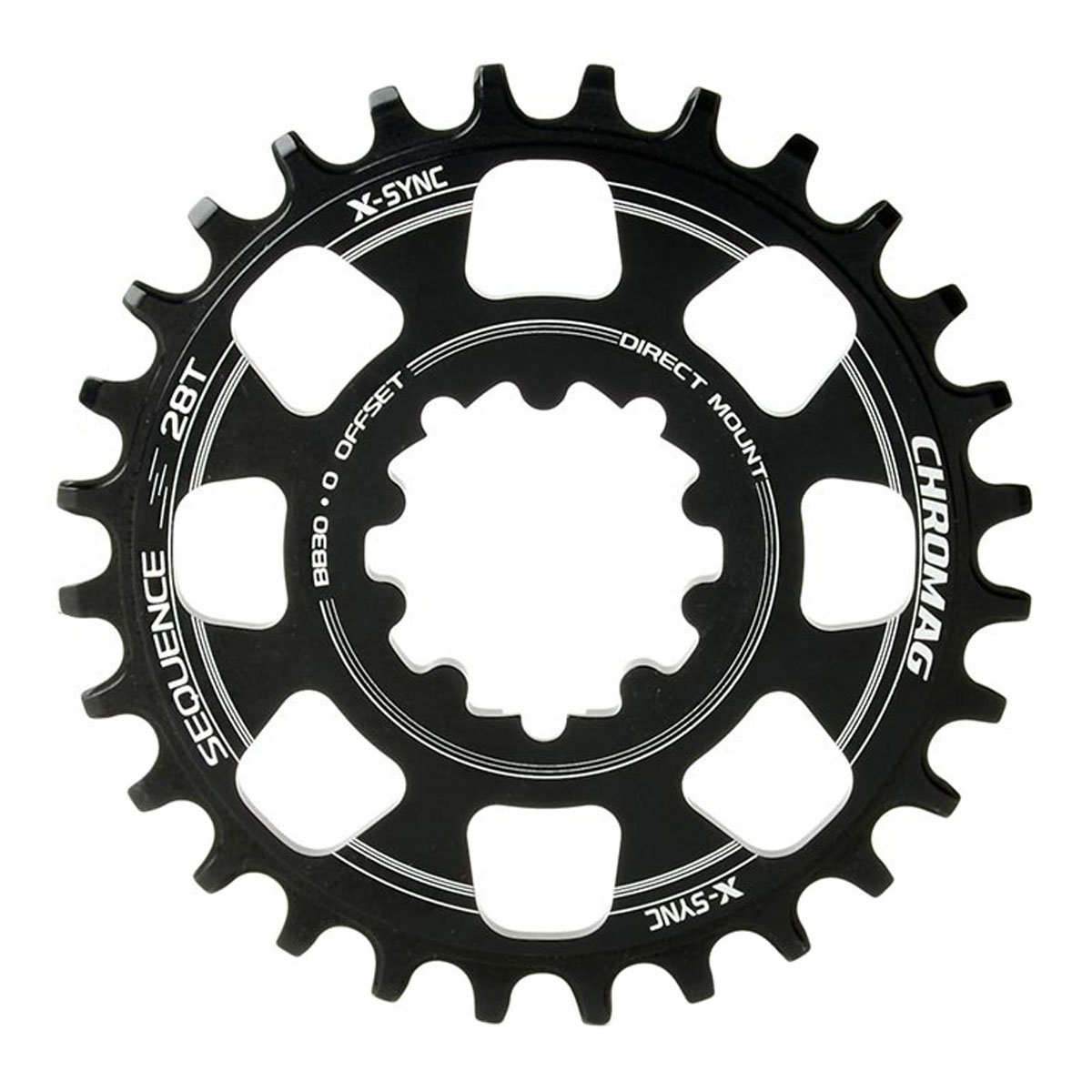 Chromag、Sequence Boost、28t Chainring、9 – 11sp、BCD : 104、7075アルミニウム、ブラック B076ZH4GJC