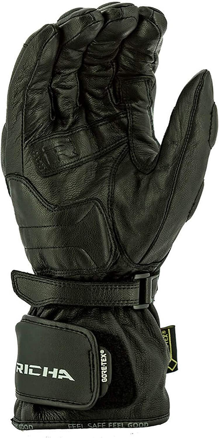 S, Black Richa Black Street Touring Gtx Motorcycle Leather Gloves
