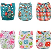 Alva Baby 6pcs Pack Fitted Pocket Cloth Diaper with 2 Inserts Each 6DM15-AU