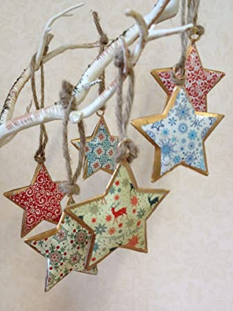 homes on trend set of 6 vintage christmas hanging metal ornament treestar bauble