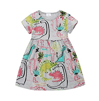 c1b7483978 Angel tribe Girl Short Sleeve Printed Dress Casual T-Shirt Nightgown  Cartoon Dinosaur 100% Cotton