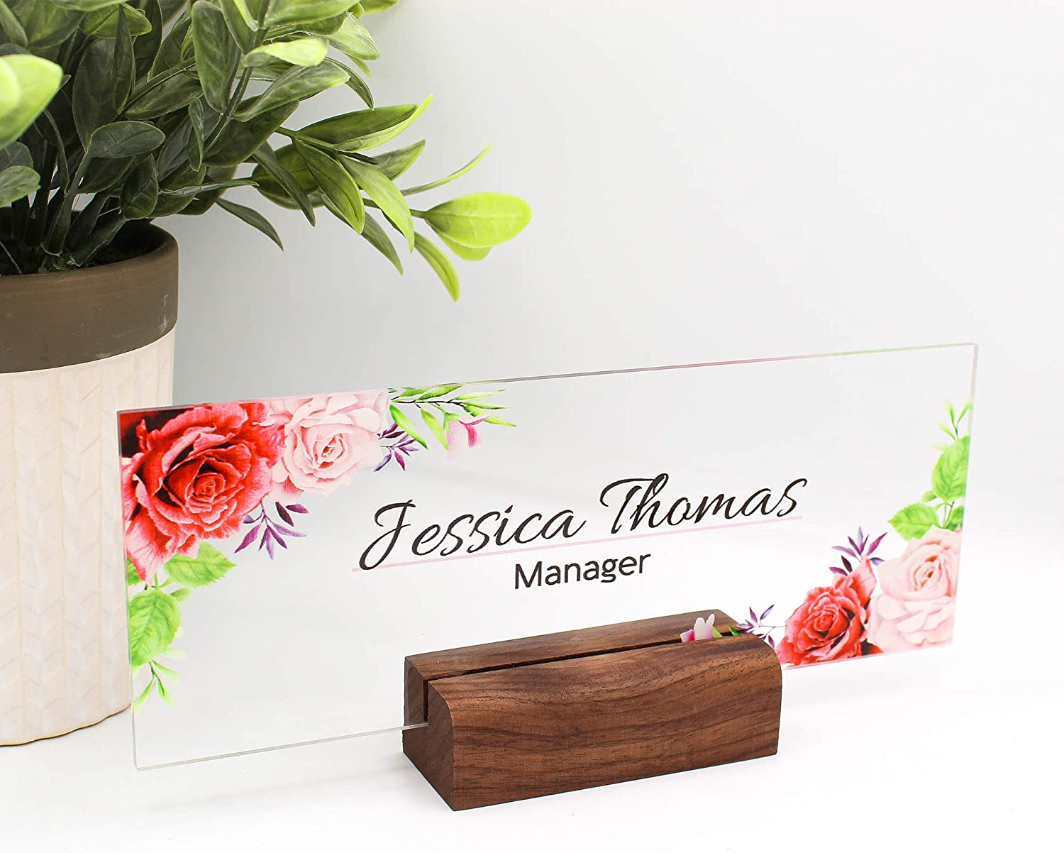 Desk Name Plate Office Supply Personalized Secretary Sign Gift Custom Professional Wood Office Sign 8