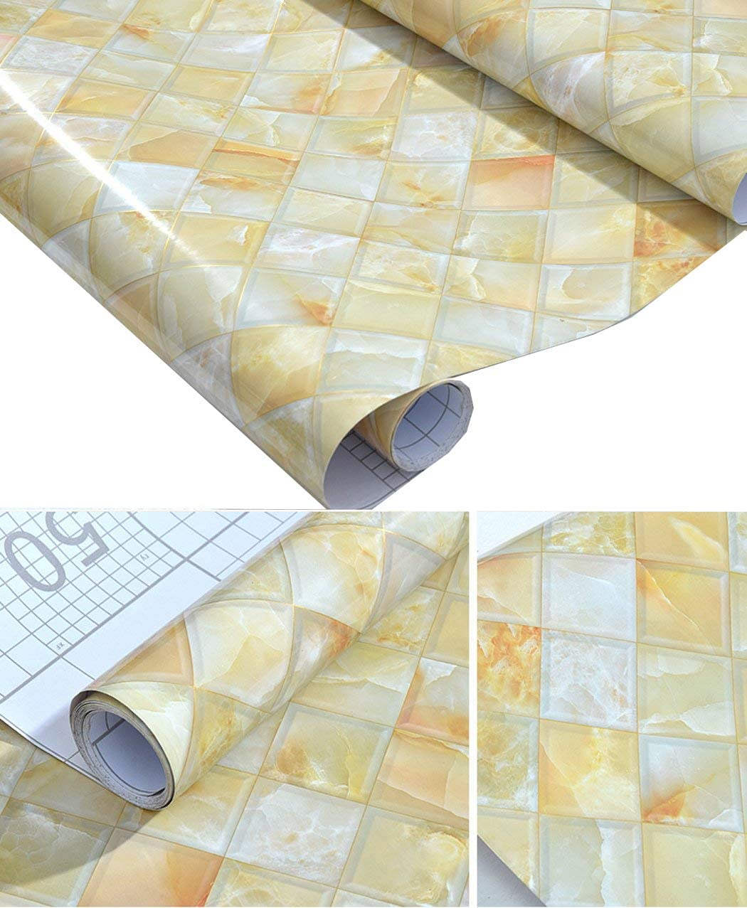 - Amazon.com - GLOW4U Faux Gloss Marble Tile Contact Paper Self
