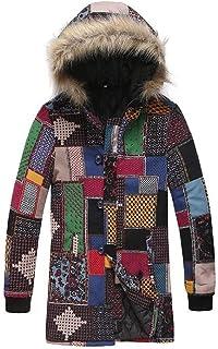 Jotebriyo Mens Winter Faux Fur Hoodies Thicken Fleece Lined Down Quilted Jacket Coat Outwear