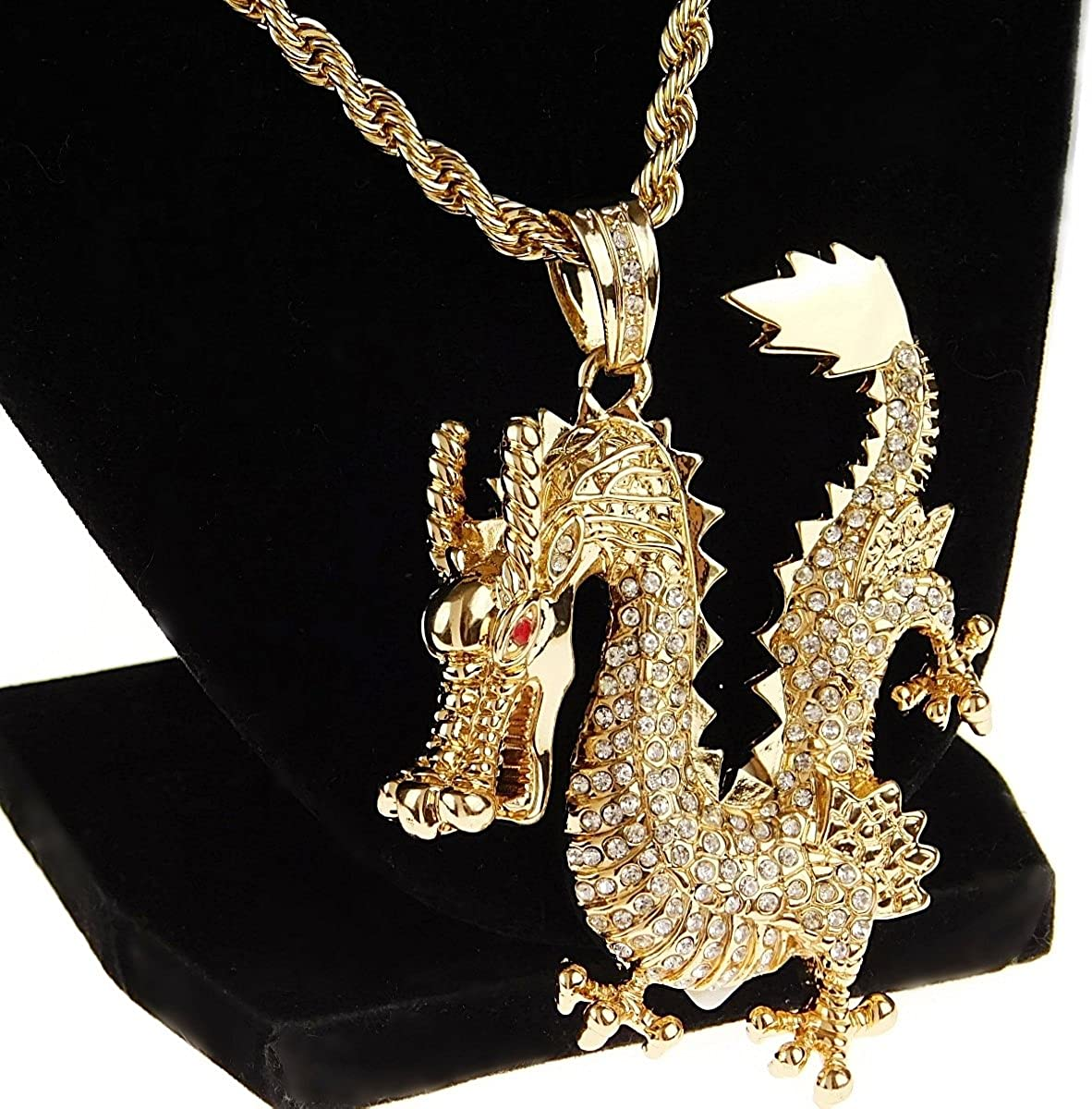 """Mens Dragon Iced Pendant Rope Chain Bling Charm Gold Finish Hip Hop Necklace 30"""" Inch x 4 mm"""