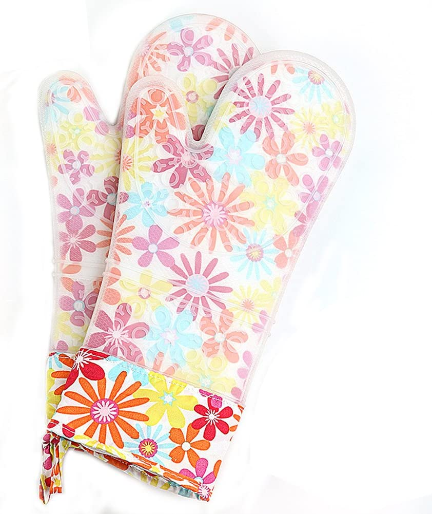 Set of 2 Oven Mitts Heat Resistant Silicone Oven Mitts Floral Oven Gloves Waterproof Silicone Kitchen Mitts Extra Long
