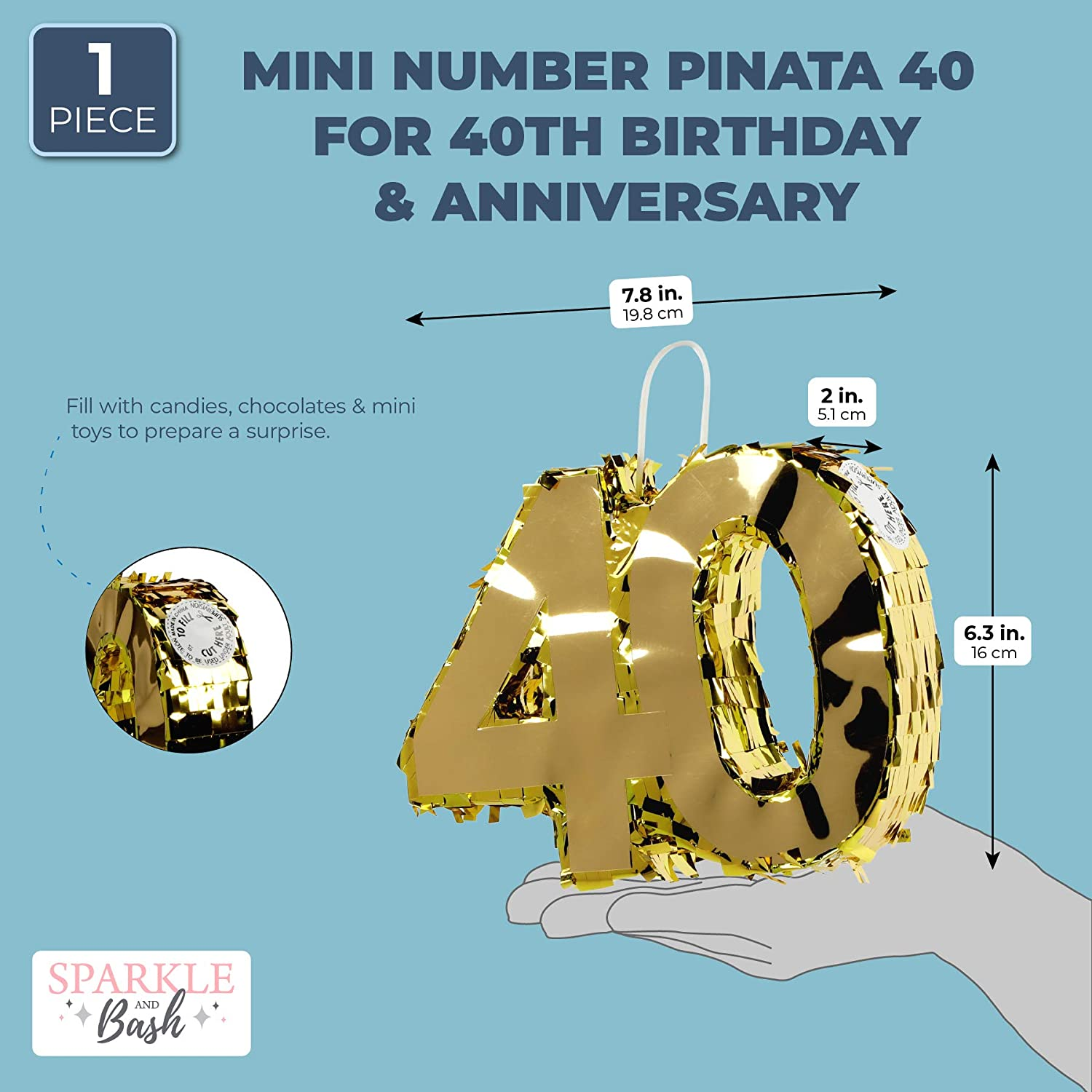 Mini Gold Pinata for 40th Birthday Party Number 40 7.8 x 6.3 x 2 Inches