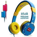 Cuffia per Bambini Pieghevole,Piega con Cavo Microfono a Doppio Jack per Cuffie 3.5mm Jack Cuffie in Sovra-orecchio di Controllo di Filo (Blu)