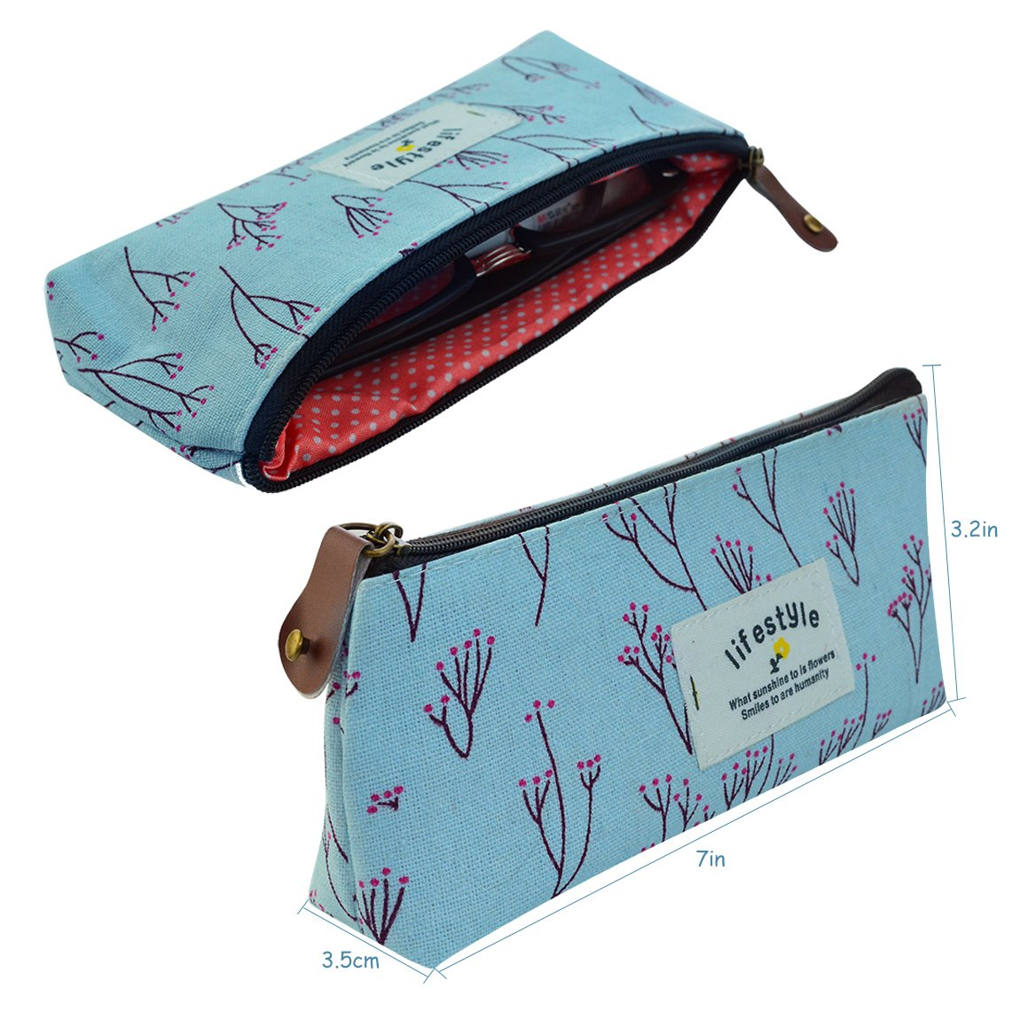 Miayon Countryside Flower Floral Pencil Pen Case Cosmetic Makeup Bag Set of 3 by Miayon : Cosmetic Bags : Beauty