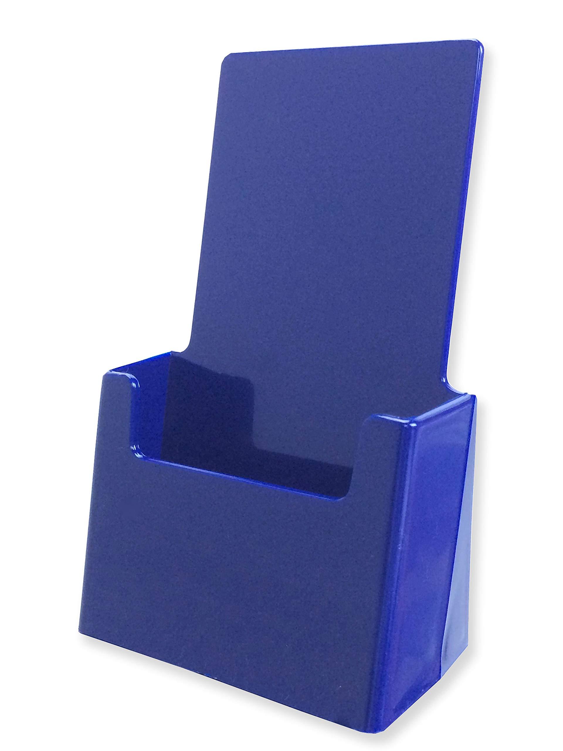 Marketing Holders Blue Brochure Pamphlet Holder Advertisement Literature Display Printed Material Paper Rack Countertop 4''w x 7''h Pack of 10
